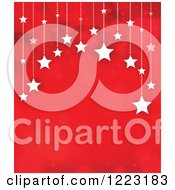 Clipart Of A Red Background With Suspended Stars And Flares Royalty Free Vector Illustration