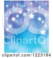 Clipart Of A Blue And Purple Background With Suspended Stars And Bokeh Flares Royalty Free Vector Illustration
