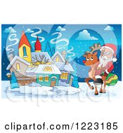 Clipart Of Santa Claus Riding A Reindeer By A Village Royalty Free Vector Illustration