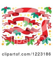 Clipart Of Red Christmas Ribbon Banners With Stars And Holly Royalty Free Vector Illustration