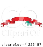 Clipart Of A Red Christmas Ribbon Banner With Holly Royalty Free Vector Illustration