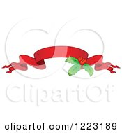 Clipart Of A Red Christmas Ribbon Banner With Holly 3 Royalty Free Vector Illustration