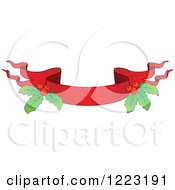 Clipart Of A Red Christmas Ribbon Banner With Holly 5 Royalty Free Vector Illustration