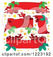 Clipart Of Red Christmas Parchment Banners With Stars And Holly Royalty Free Vector Illustration