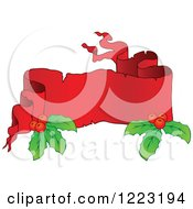 Clipart Of A Red Christmas Parchment Banner With Holly 2 Royalty Free Vector Illustration