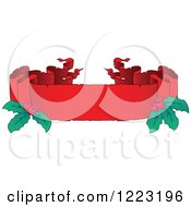 Clipart Of A Red Christmas Parchment Banner With Holly 4 Royalty Free Vector Illustration