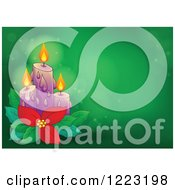 Clipart Of Christmas Candles With Poinsettia Over Green With Flares Royalty Free Vector Illustration