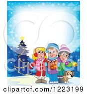 Clipart Of A Border Of A Dog With Christmas Carol Children Singing In The Snow Royalty Free Vector Illustration by visekart