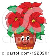 Clipart Of A Happy Poinsettia Plant Royalty Free Vector Illustration