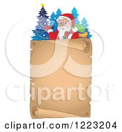 Clipart Of Santa Claus Waving And Carrying A Sack Over His Shoulder Above A Parchment Scroll Royalty Free Vector Illustration