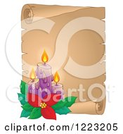 Clipart Of Christmas Candles With Poinsettia Over A Parchment Scroll Royalty Free Vector Illustration