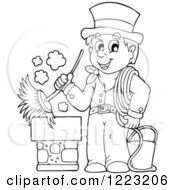 Clipart Of An Outlined Chimney Sweep Man Holding A Brush Royalty Free Vector Illustration by visekart