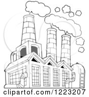 Outlined Factory Building Polluting The Air