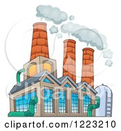 Clipart Of A Factory Building Polluting The Air Royalty Free Vector Illustration by visekart
