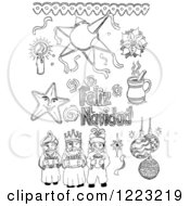 Clipart Of Black And White Sketched Mexican Christmas Items Royalty Free Vector Illustration