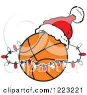 Clipart Of A Basketball With Christmas Lights And A Santa Hat Royalty Free Vector Illustration by Johnny Sajem