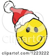 Happy Christmas Smiley Face Wearing A Santa Hat