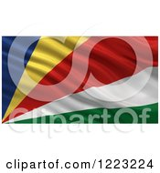Clipart Of A 3d Waving Flag Of Seychelles With Rippled Fabric Royalty Free Illustration