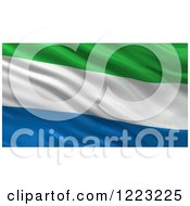 Clipart Of A 3d Waving Flag Of Sierra Leone With Rippled Fabric Royalty Free Illustration