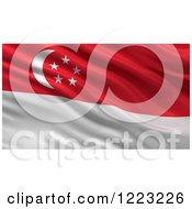 Clipart Of A 3d Waving Flag Of Singapore With Rippled Fabric Royalty Free Illustration