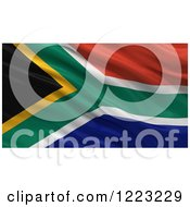 Clipart Of A 3d Waving Flag Of South Africa With Rippled Fabric Royalty Free Illustration