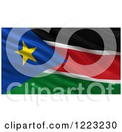 Clipart Of A 3d Waving Flag Of South Sudan With Rippled Fabric Royalty Free Illustration