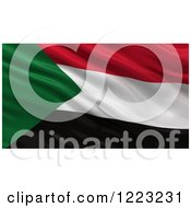 Clipart Of A 3d Waving Flag Of Sudan With Rippled Fabric Royalty Free Illustration