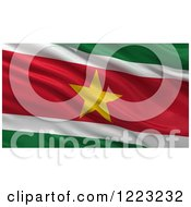 Clipart Of A 3d Waving Flag Of Suriname With Rippled Fabric Royalty Free Illustration