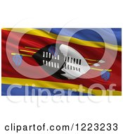 Clipart Of A 3d Waving Flag Of Swaziland With Rippled Fabric Royalty Free Illustration