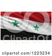 3d Waving Flag Of Syria With Rippled Fabric