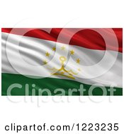 Clipart Of A 3d Waving Flag Of Tajikistan With Rippled Fabric Royalty Free Illustration
