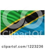 Clipart Of A 3d Waving Flag Of Tanzania With Rippled Fabric Royalty Free Illustration