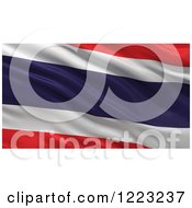 Clipart Of A 3d Waving Flag Of Thailand With Rippled Fabric Royalty Free Illustration
