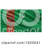 Clipart Of A 3d Waving Flag Of Turkmenistan With Rippled Fabric Royalty Free Illustration