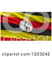 Clipart Of A 3d Waving Flag Of Uganda With Rippled Fabric Royalty Free Illustration