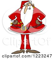 Clipart Of Santa Standing With His Hands On His Hips Royalty Free Vector Illustration