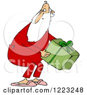 Clipart Of Santa Wearing Pjs And Picking Up A Gift Royalty Free Vector Illustration