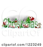 Clipart Of Green Christmas Text With Satnas Reindeer And Mrs Claus Royalty Free Illustration by djart