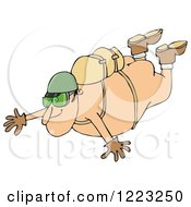 Clipart Of A Nude Man Falling While Sky Diving Royalty Free Illustration by djart