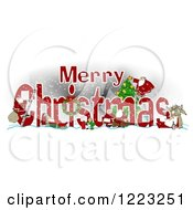 Clipart Of A Red Merry Christmas Greeting With Satnas Reindeer And Mrs Claus Royalty Free Illustration by djart