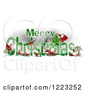 Clipart Of A Green Merry Christmas Greeting With Satnas Reindeer And Mrs Claus Royalty Free Illustration by djart