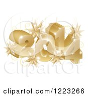 Clipart Of Suspended Gold 3d 2014 New Year Numbers With Stars Royalty Free Vector Illustration