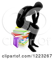 Clipart Of A Silhouetted Man Sitting And Thinking On A Stack Of Books Royalty Free Vector Illustration by AtStockIllustration