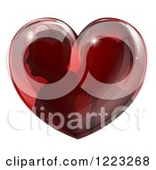 Clipart Of A Silhouetted Couple Inside A Reflective Red Heart Royalty Free Vector Illustration