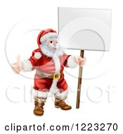 Santa Standing Holding A Thumb Up And A Sign