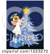 Cute Little Angel Girl Stepping On Gifts And Decorating A Christmas Tree Over Blue With Snow