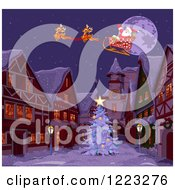 Clipart Of Cute Reindeer And Santa Flying Over A Christmas Village At Night Royalty Free Vector Illustration by Pushkin