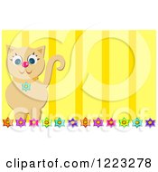 Tan Cat Over Flowers And Yellow Stripes