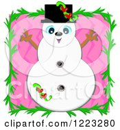 Snowman Over Pink Zig Zags