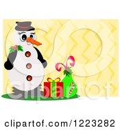 Snowman With A Sack And Present Over Yellow Zig Zags